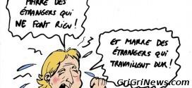 Politique : Dessin de presse sur la xénophobe Marine Le Pen…