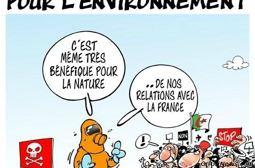 Dessin de presse de «Dilem» sur l'exploitation du gaz de schiste en Algérie