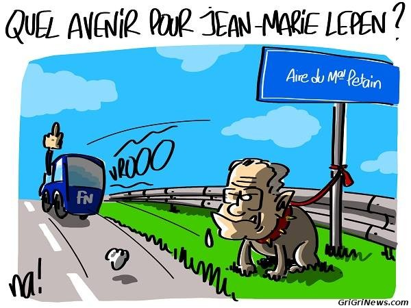 Dessin de presse : le xénophobe et raciste Jean-Marie Lepen seul et abandonné