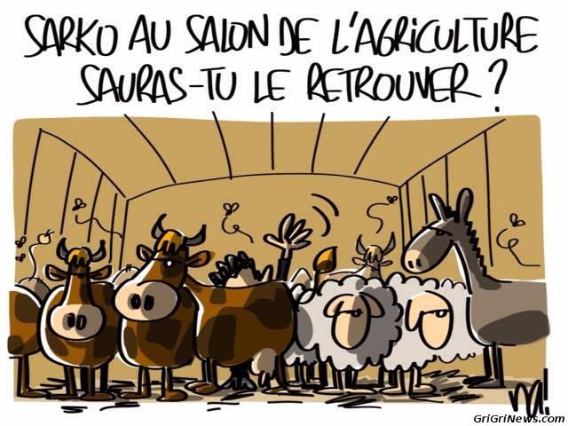 Dessin de presse : Nicolas Sarkozy au salon de l'agriculture en France